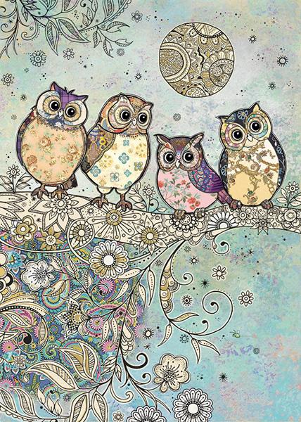 Bug Art Four Owls Blank Card Bae035