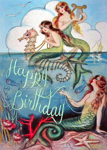 Madame Treacle Mermaids Birthday Card Mthb069