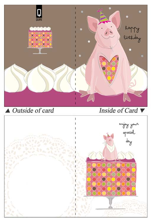 Quire Publishing Pink Pig Birthday Card Qac7684