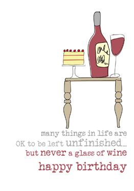 Dandelion Stationery Wine Birthday Card Dww038