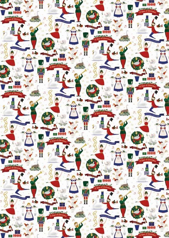 2019 Christmas Music.The Art File Christmas Music Sheet Gift Wrap Afgwx032