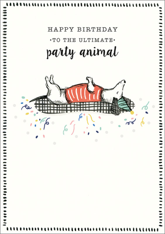 The Art File Party Animal Birthday Card Nf009