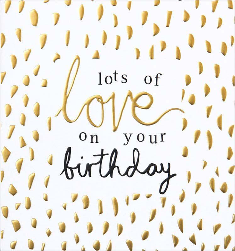 Caroline Gardner Gold Love Birthday Card Hel005