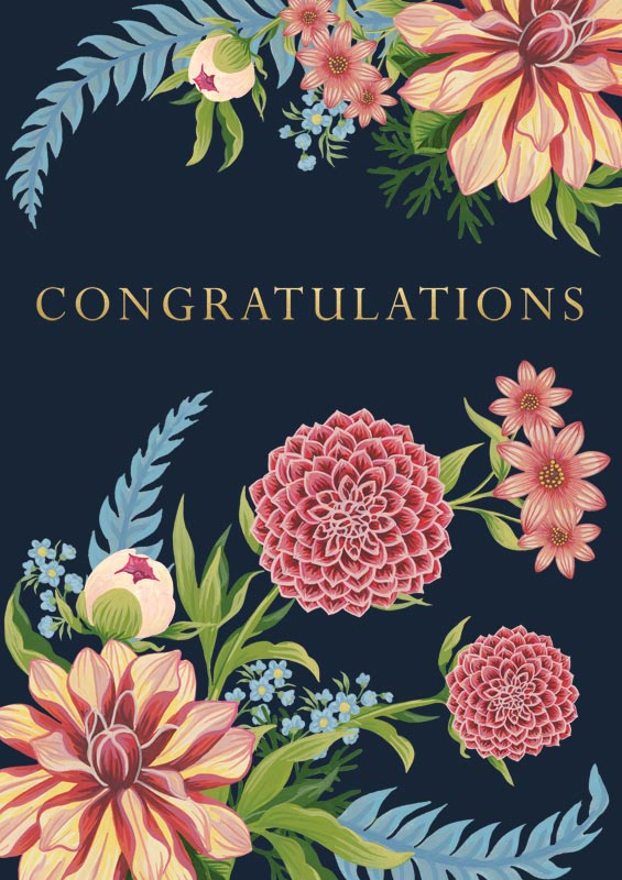 Cath Tate Cards Pink Amp Blue Flowers Congratulations