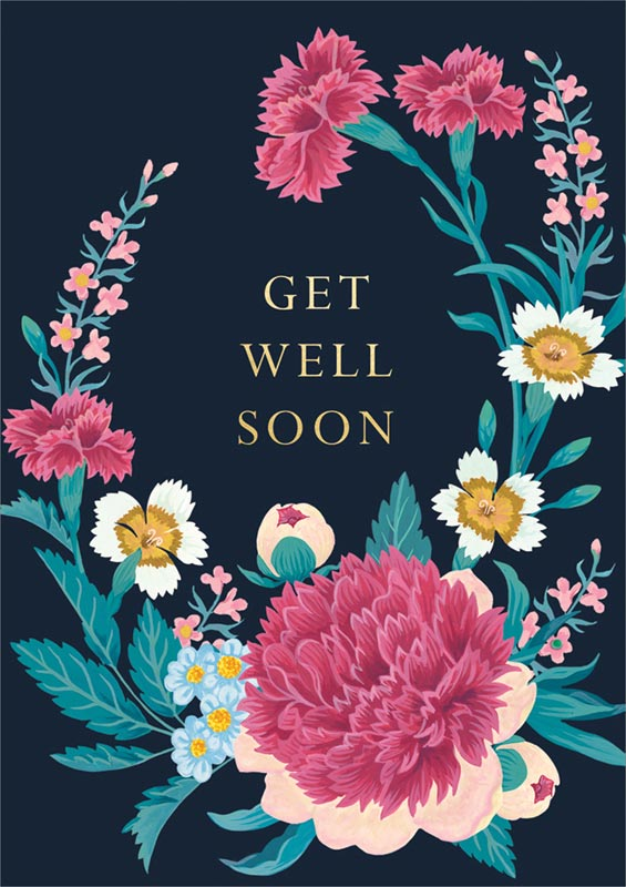 Cath Tate Cards , Pink \u0026 White Flowers , Get Well Card CDF1496