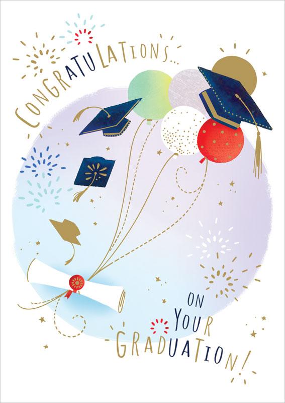 ling design ltd balloons graduation card lnq0122