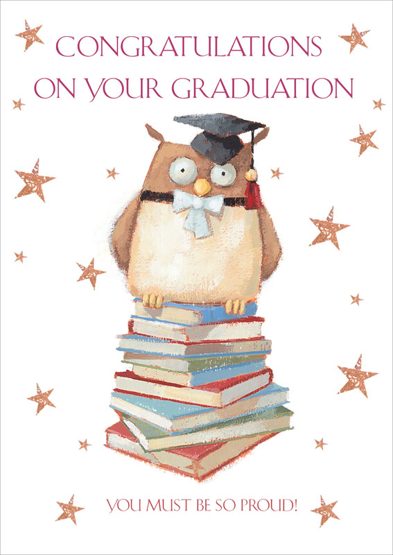 ling design ltd owl books graduation card lnq0130
