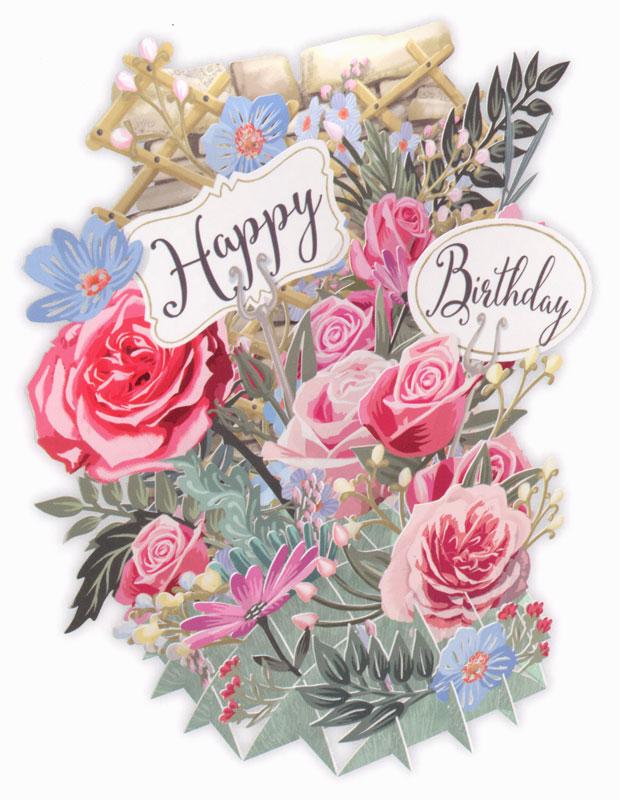 Paper Dart 3d Flowers Birthday Card Tw030