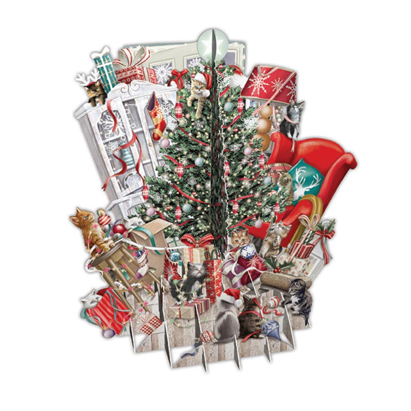 Paper D\'Art - Cats Decorating the Tree - Christmas Card #XTW007