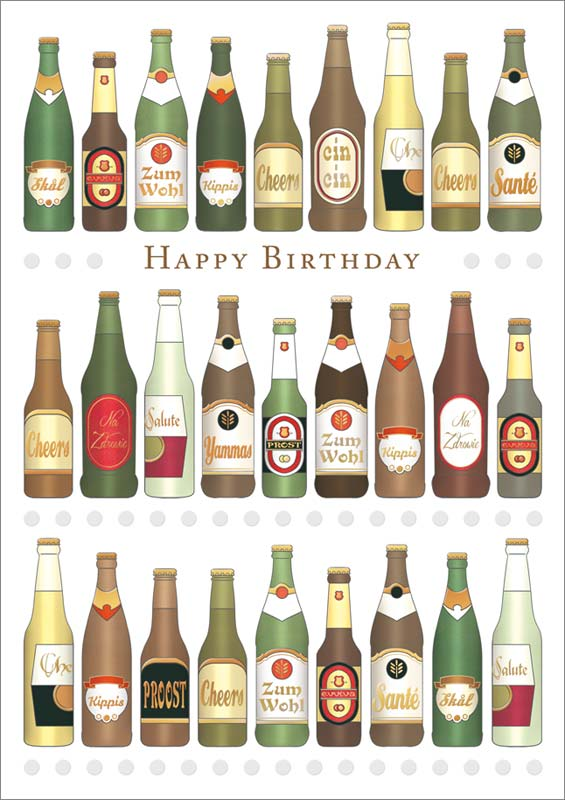 Quire Publishing Wine Beer Birthday Card Mc3364