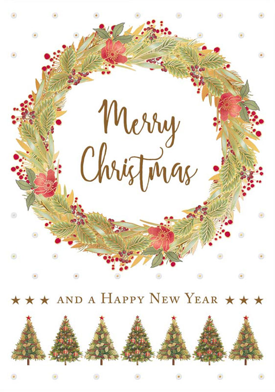 Christmas Card Greetings.Quire Publishing Season S Greetings Wreath Christmas