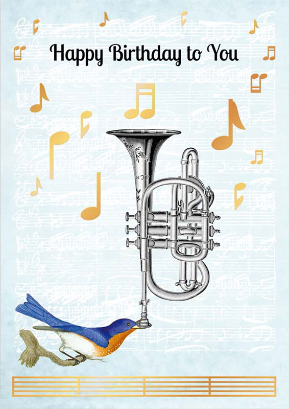 Quire Publishing Trumpet Music Birthday Card P1183