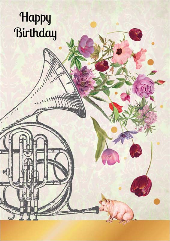 Quire publishing french horn with flowers birthday card p1185 m4hsunfo