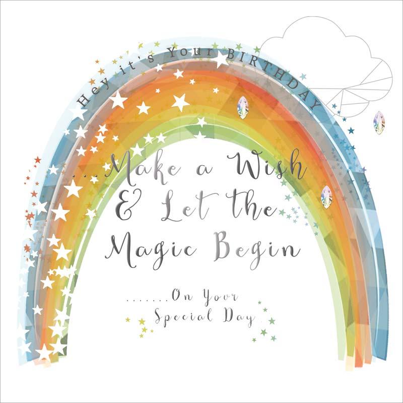 Real Exciting Designs Rainbow Wish Birthday Card Mol904