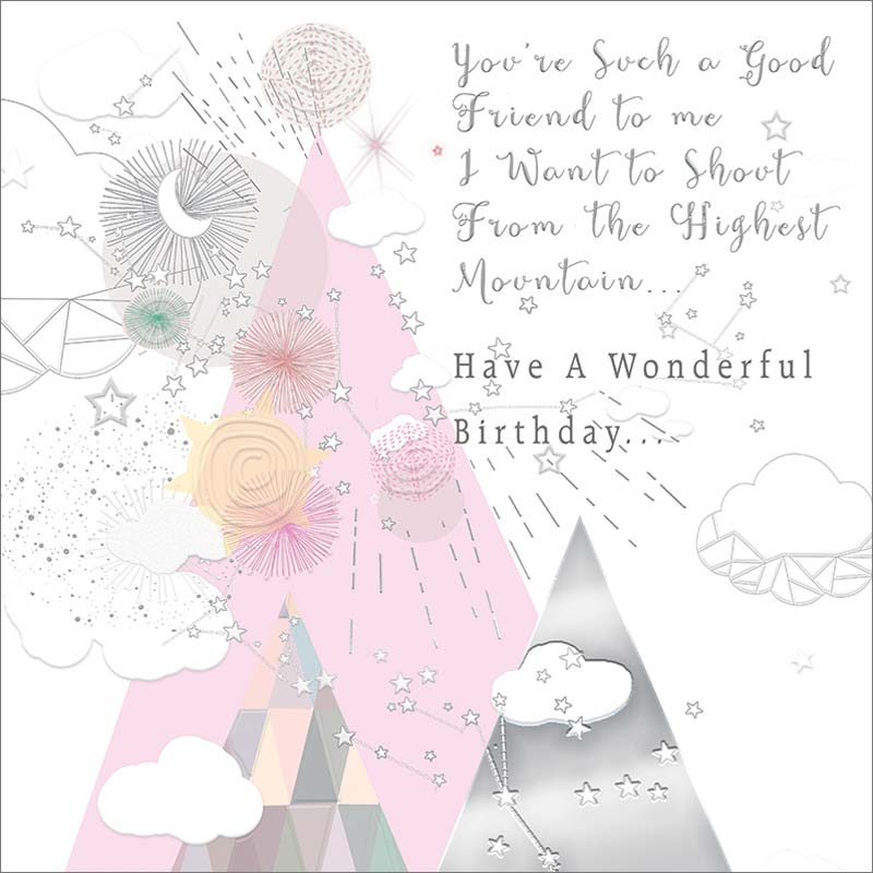Real Exciting Designs Friend Highest Mountain Birthday Card