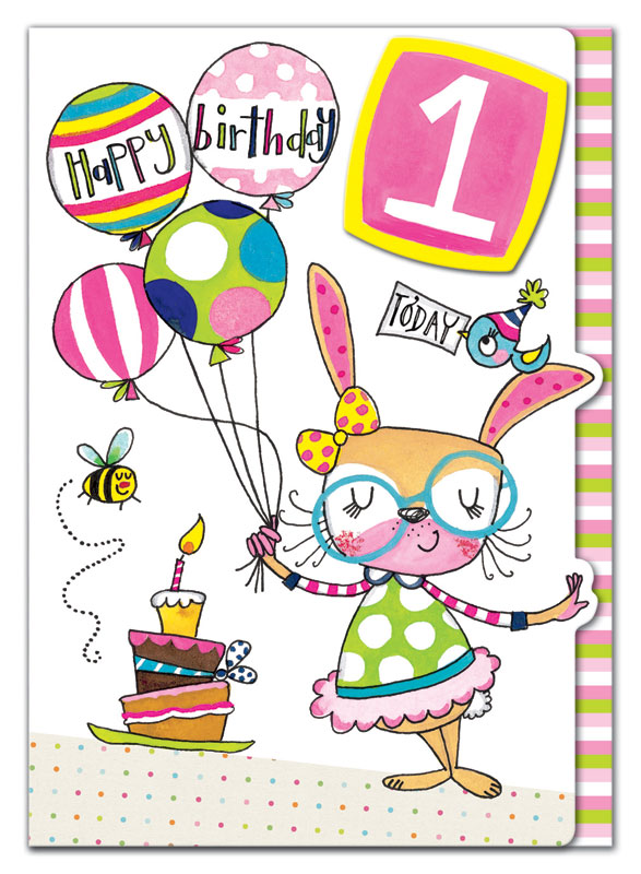 Rachel Ellen Designs First Birthday Rabbit Birthday Card Eww001