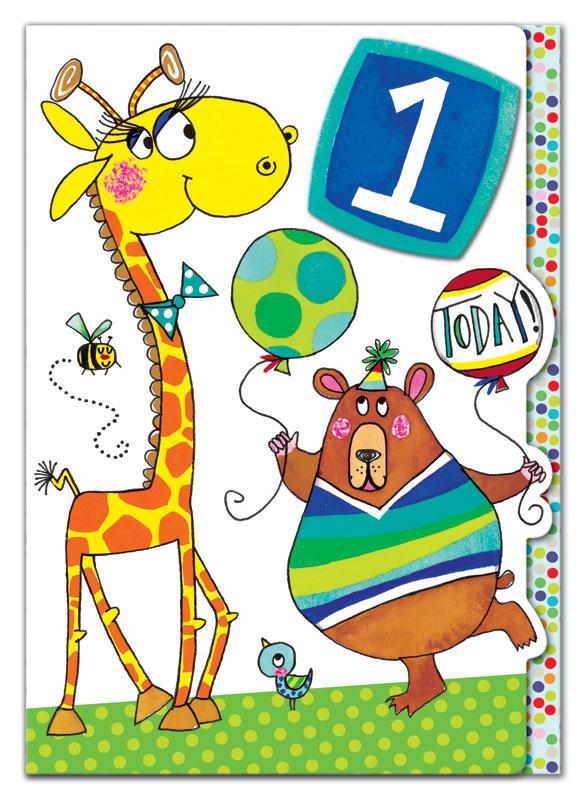 Rachel Ellen Designs First Birthday Giraffe Bear Birthday Card