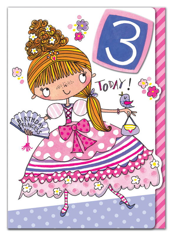 Rachel Ellen Designs Third Birthday Princess Birthday Card Eww005