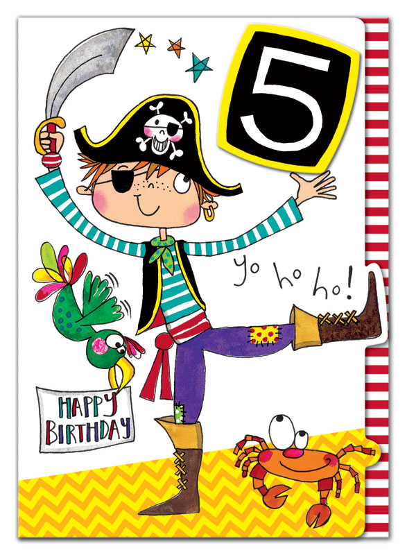 Rachel Ellen Designs Fifth Birthday Pirate Birthday Card Eww010
