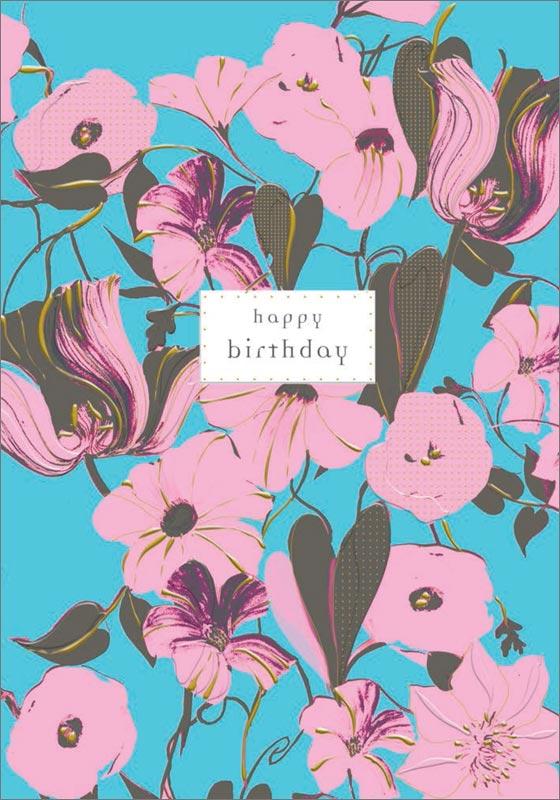 Turnowsky Pink Flowers Birthday Cards Mo5093