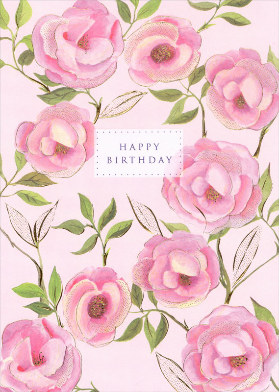 turnowsky pink roses birthday card mo5099