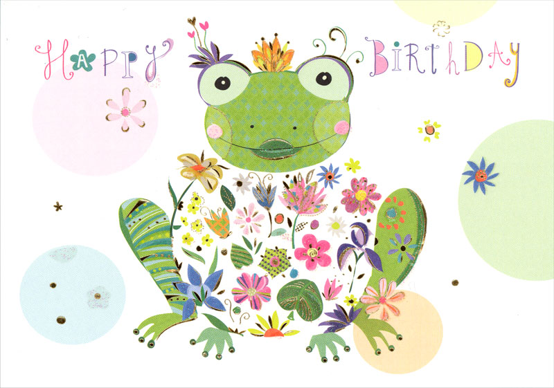 frog birthday Turnowsky   Frog with Flower   Birthday Card #MO7358 frog birthday