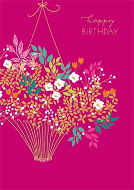 Basket / Flowers - Birthday Card