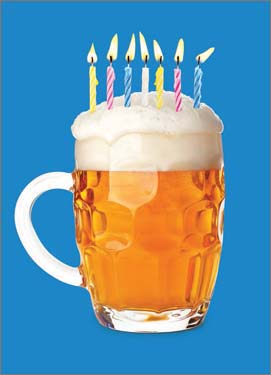 Beer with Candles - Birthday Card