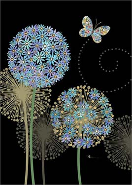 Blue Alliums - Blank Card