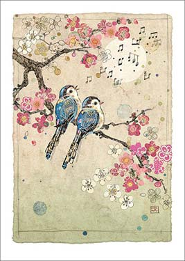 Blue Song Birds - Blank Card