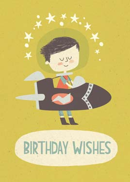 Boy Rocket Ship - Birthday Card