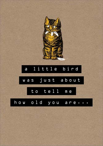 Cat / Bird - Birthday Card