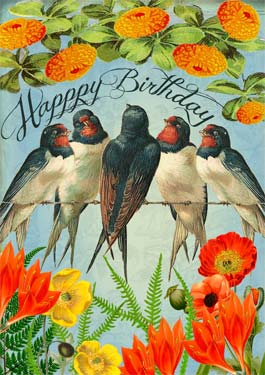 Five Birds - Birthday Card