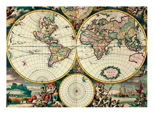 Four Hemisphere World Map - Poster Wrap gift wrappings