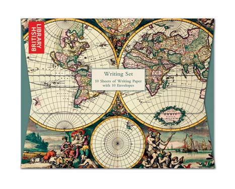 Four Hemispheres World Map - Writing Set notecards and stationery