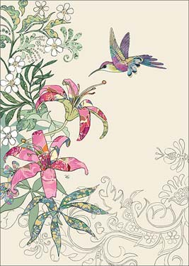 Lily Humming Bird - Blank Card