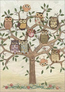 Owl Family Tree - Blank Card