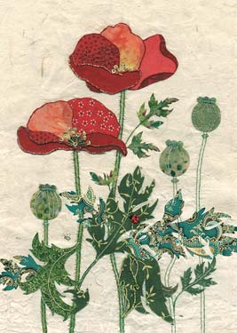 Pattern Poppies - Blank Card
