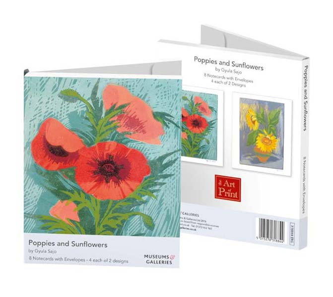 Poppies and Sunflowers - Notecard Wallet notecards and stationery