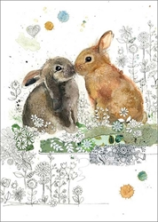 Rabbit Kiss - Blank Card Easter