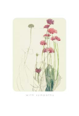 Red Flowers - Sympathy Card