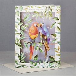 Laser Cut Two Parrots - Birthday Card Birthday