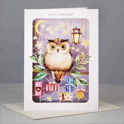 Laser Cut Owl - Birthday Card Birthday