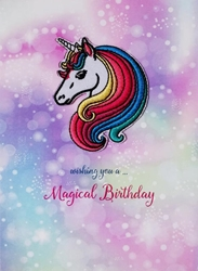 Unicorn Embroidered Patch - Birthday Card
