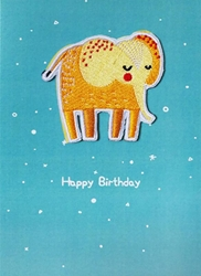 Elephant Embroidered Patch - Birthday Card