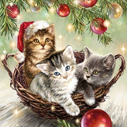 Three Kittens - Christmas Cocktail Napkins Christmas
