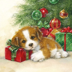 Puppy Tree - Christmas Luncheon Napkins Christmas