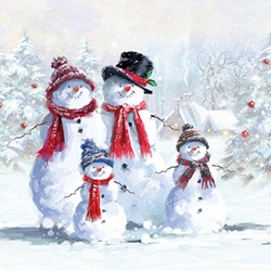 Snowmen in Hats - Christmas Luncheon Napkins Christmas