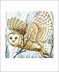 Barn Owl Winter Branches - Blank Card