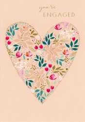 Heart / Flowers - Enagement Card notecards and stationery